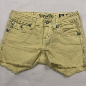 Girls Miss Me Shorts Yellow